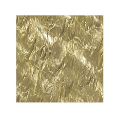 Crumpled Foil Golden Small Satin Scarf (square)