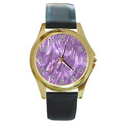 Crumpled Foil Lilac Round Gold Metal Watches
