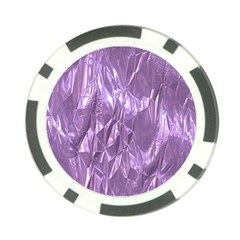 Crumpled Foil Lilac Poker Chip Card Guards