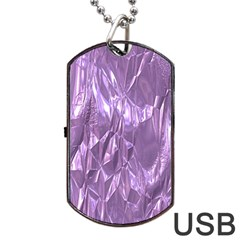 Crumpled Foil Lilac Dog Tag USB Flash (One Side)