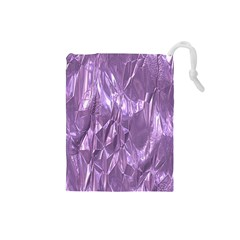 Crumpled Foil Lilac Drawstring Pouches (Small)