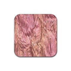 Crumpled Foil Pink Rubber Coaster (Square)