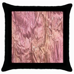 Crumpled Foil Pink Throw Pillow Cases (Black)