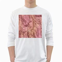 Crumpled Foil Pink White Long Sleeve T-Shirts