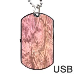 Crumpled Foil Pink Dog Tag USB Flash (One Side)