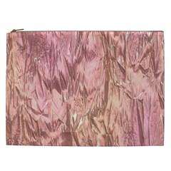 Crumpled Foil Pink Cosmetic Bag (XXL)