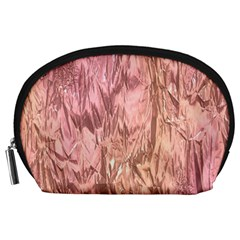 Crumpled Foil Pink Accessory Pouches (Large)