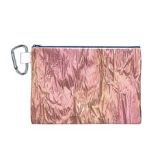 Crumpled Foil Pink Canvas Cosmetic Bag (M)