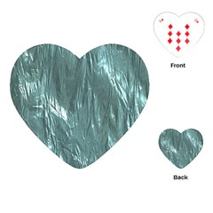 Crumpled Foil Teal Playing Cards (Heart)