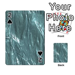 Crumpled Foil Teal Playing Cards 54 Designs