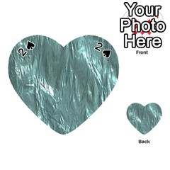 Crumpled Foil Teal Playing Cards 54 (heart)