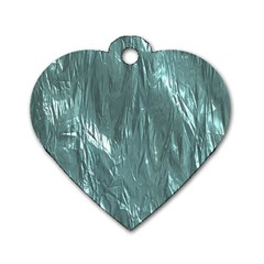 Crumpled Foil Teal Dog Tag Heart (One Side)