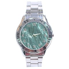 Crumpled Foil Teal Stainless Steel Men s Watch
