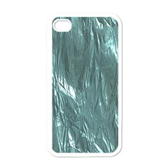 Crumpled Foil Teal Apple iPhone 4 Case (White)