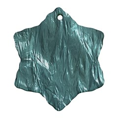 Crumpled Foil Teal Snowflake Ornament (2 Side)