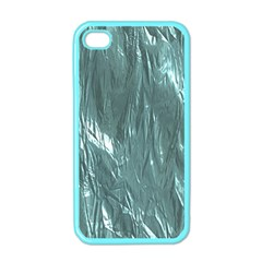 Crumpled Foil Teal Apple iPhone 4 Case (Color)