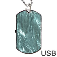 Crumpled Foil Teal Dog Tag Usb Flash (two Sides)