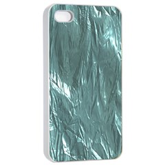 Crumpled Foil Teal Apple iPhone 4/4s Seamless Case (White)