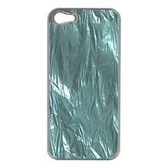 Crumpled Foil Teal Apple iPhone 5 Case (Silver)