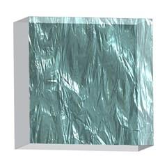 Crumpled Foil Teal 5  x 5  Acrylic Photo Blocks