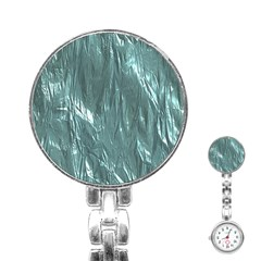 Crumpled Foil Teal Stainless Steel Nurses Watches