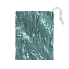 Crumpled Foil Teal Drawstring Pouches (Large)