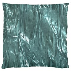 Crumpled Foil Teal Large Flano Cushion Cases (Two Sides)