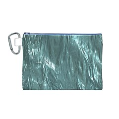 Crumpled Foil Teal Canvas Cosmetic Bag (M)