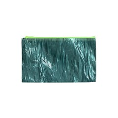 Crumpled Foil Teal Cosmetic Bag (XS)
