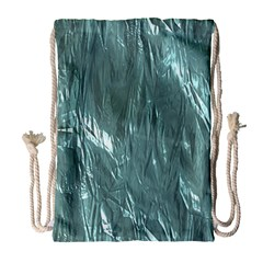 Crumpled Foil Teal Drawstring Bag (large)