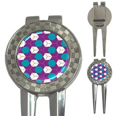 Cubes in honeycomb pattern 3-in-1 Golf Divot