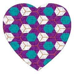 Cubes in honeycomb pattern Jigsaw Puzzle (Heart)