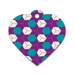 Cubes in honeycomb pattern Dog Tag Heart (Two Sides)