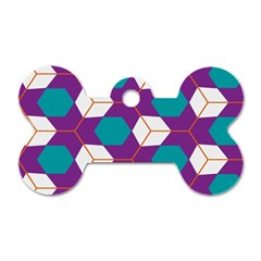 Cubes in honeycomb pattern Dog Tag Bone (Two Sides)