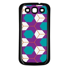 Cubes in honeycomb pattern Samsung Galaxy S3 Back Case (Black)