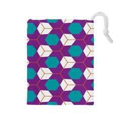 Cubes in honeycomb pattern Drawstring Pouch