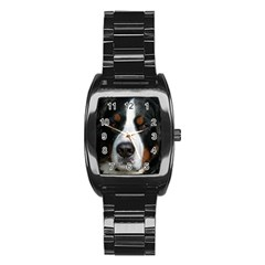 Bernese Mountain Dog Stainless Steel Barrel Watch
