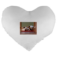 2 Sleeping Bulldogs Large 19  Premium Heart Shape Cushions
