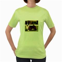 Cardigan Welsh Corgi Full Women s Green T-Shirt