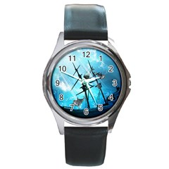 Awesome Ship Wreck With Dolphin And Light Effects Round Metal Watches