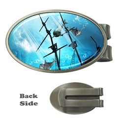 Awesome Ship Wreck With Dolphin And Light Effects Money Clips (Oval)