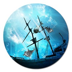 Awesome Ship Wreck With Dolphin And Light Effects Magnet 5  (Round)