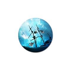 Awesome Ship Wreck With Dolphin And Light Effects Golf Ball Marker