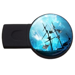 Awesome Ship Wreck With Dolphin And Light Effects USB Flash Drive Round (2 GB)