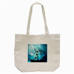 Awesome Ship Wreck With Dolphin And Light Effects Tote Bag (cream)