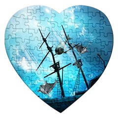 Awesome Ship Wreck With Dolphin And Light Effects Jigsaw Puzzle (Heart)