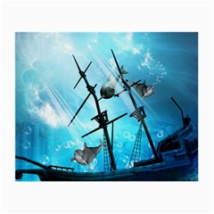 Awesome Ship Wreck With Dolphin And Light Effects Small Glasses Cloth