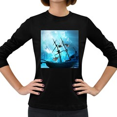 Awesome Ship Wreck With Dolphin And Light Effects Women s Long Sleeve Dark T-Shirts