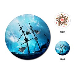 Awesome Ship Wreck With Dolphin And Light Effects Playing Cards (round)