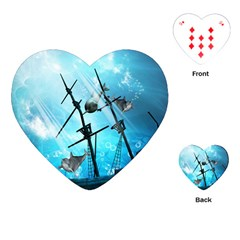 Awesome Ship Wreck With Dolphin And Light Effects Playing Cards (heart)
